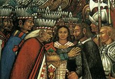 Tlaxcalans making an alliance with Cortez.