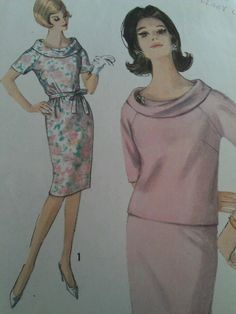 Vintage 60s Simplicity 4906 One or Two PC Dress with Rolled Collar Pattern SZ 10