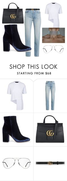 """""""Untitled #83"""" by esm98 ❤ liked on Polyvore featuring Yves Saint Laurent, Gianvito Rossi, Gucci, Ray-Ban, kendalljenner and gigihadid"""