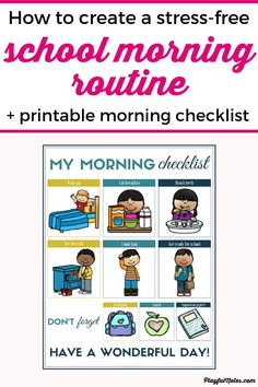 How to create an easy and stress-free school morning routine (+ checklist) Morning Routine Printable, Morning Routine Kids, Morning Routine Checklist, Bedtime Routine, Kids Going To School, Back To School Hacks, School Fun, School Tips, School Stuff