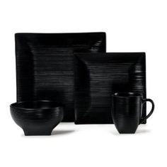 Textured black dinnerware this is so me