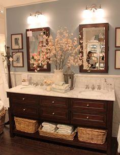 Pottery Barn Bathroom | popular posts | decor tips | expert advice | styling a bathroom | vanity | interior design | flowers | storage solutions | wood vanity | blue wall