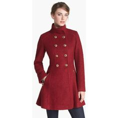 GUESS Fit & Flare Bouclé Military Coat