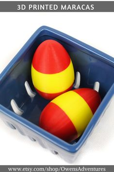 These perfect little Easter egg shaker maracas are great for any Easter basket. They are made from biodegradable plastic, PLA, and 3D printed in our home. Each one is custom made for your little one. Select from any combination of colors. #maracas #musiceducation #3dmodel #3dprinting #PLA #musicians #music #toys #kidstoys #giftideas
