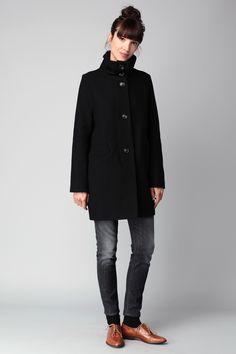Manteau noir laine Chera Sessun sur MonShowroom.com