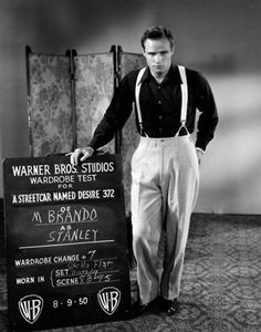 Marlon Brando's wardrobe test for 'A Streetcar Named Desire', 1951 Costume design by Lucinda Ballard.