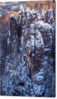 Jenny Rainbow Fine Art Photography Acrylic Print featuring the photograph Snowy Rocks. Saxon Switzerland by Jenny Rainbow Art Prints For Home, Fine Art Prints, Framed Prints, Thing 1, Time Art, New Wave, Art Techniques, Beautiful Artwork, Beautiful Landscapes