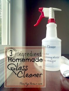 DIY Homemade Glass Cleaner. This solution is a snap to whip up and works just as well as Windex. Looking for a cheaper and safer glass cleaner for your home? This is the one. | www.thriftystories.com
