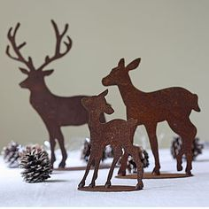 Set Of Three Rusty Reindeer - rustic christmas