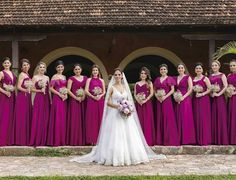 61 trendy ideas for wedding bridesmaids purple Magenta Bridesmaid Dresses, Wedding Bridesmaid Dresses, Brides And Bridesmaids, Wedding Attire, Godmother Dress, Magenta Wedding, African Wedding Dress, Just In Case, Bridal Gowns