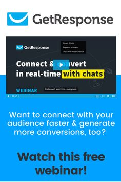 Want to connect with your audience faster & generate more conversions, too? Watch this webinar where we introduce you to the GetResponse Chats, the new tool that'll help you run your marketing campaigns even more effectively.... #emailmarketing #getresponse Email Marketing, How To Introduce Yourself, Conversation, Connection, Watch, Stuff Stuff, Cat Breeds, Clock, Bracelet Watch