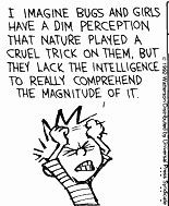 "Calvin and Hobbes QUOTE OF THE DAY (DA): ""I imagine bugs and girls have a dim perception that nature played a cruel trick on them, but they lack the intelligence to really comprehend the magnitude of it."" -- Calvin/Bill Watterson"