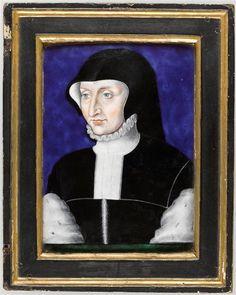 Antoinette de Bourbon, Duchess of Guise, wife of 1st Duke of Guise. 1550 Leonard Limosin Ecouen National Renaissance Museum