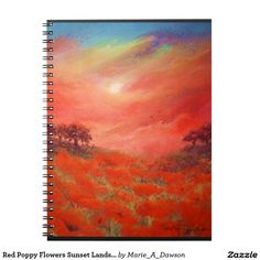 Red Poppy Flowers Sunset Landscape Art Painting
