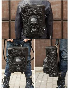 Gladiator Skull Bucket Backpack - Holy Buyble Leather Art, Lambskin Leather, Leather Tooling, Leather Bag Tutorial, Bucket Backpack, Leather Projects, Leather Backpack, Cool Outfits, Mens Fashion