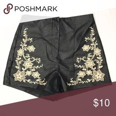 Forever 21 NWT Black Cream Faux Leather Shorts New with tags! Additional photos and measurements available upon request. Forever 21 Shorts