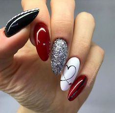 Red Black And White Nail Designs Ideas valentine nail style use of reds with a mix of black and Red Black And White Nail Designs. Here is Red Black And White Nail Designs Ideas for you. Red Black And White Nail Designs nail designs red and white . Classy Nail Designs, Short Nail Designs, Nail Art Designs, Nails Design, Nagel Tattoo, Short Nails Art, Nail Swag, Super Nails, Almond Nails