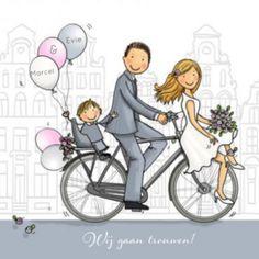Trouwkaart bruidspaar op de  fiets met jongetje achterop en ballonnen Wedding Illustration, Couple Illustration, Wedding Day Cards, Wedding Paper, Embroidery Flowers Pattern, Flower Patterns, Valentine Words, Cute Love Cartoons, Shirt Embroidery