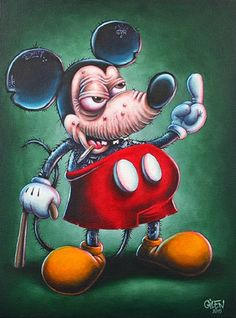 """Mick"" Acrylique sur toile Gilen - 2015 www. thats mickey mee.with hHip C.from slamming dope Disney Horror, Horror Cartoon, Dope Cartoon Art, Dope Cartoons, Film Disney, Creepy Art, Weird Art, Disney Stars, Arte Horror"