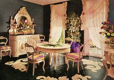 The most girly dining room ever.  (Armstrong Linoleum)