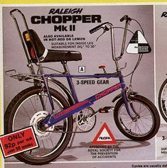 Raleigh Chopper Mark 2 from a catalogue in the 1970's 615×620 pixels