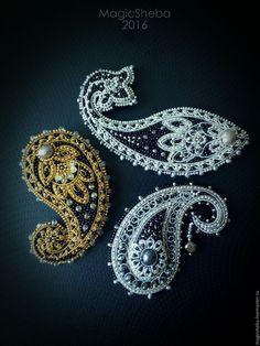 Купить Броши Индийские сказки, броши пейсли - серебряный, золотой, серебряная…