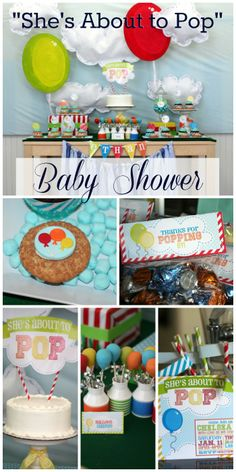 "How fun is this ""She's about to Pop"" balloon themed baby shower! I love all the balloon elements: cookies, cake pops, cake, etc. See more party ideas at CatchMyParty.com. #babyshower #balloons #pop"