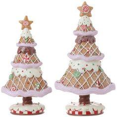 "RAZ Imports - 10.5"" Gingerbread Trees (Set of 2)"