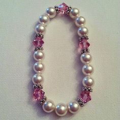 Breast Cancer Awareness Swarovski Pearl/Crystal by BayouAccents, $8.00