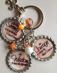 Serenity Prayer bottle cap key chain with by Bottlecapbling101, $12.00