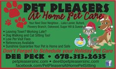Schedule your Holiday Pet Sitting/Dog Walking Soon!