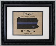 """POLICE Gift Thin Blue Line across ANY US State - Personalized - State Police, Law Enforcement, Deputy, State Trooper - Home Decor on Burlap. PRINT ONLY - frame is not included. We make these easy to frame. They are made to fit in a frame that is matted to 8""""x10"""" unless other size is requested. POLICE Thin Blue Line across US State on Burlap - Personalized Made by a Police Officer for Officers. Thank You for your service!!..."""
