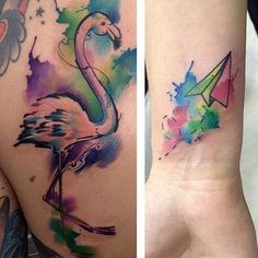 Last tattoos before holidays! Thanks Javi and Teo!! @cocotecafebistro (we'll try your food next time in #Ourense)  #tattoo #color #colortattoo #watercolor #watercolortattoo #flamingo #flamingotattoo #paperplane #watercolorpaperplane  #watercolorflamingo #tatuaje #tatuajecolor #acuarela #tatuajeacuarela #flamenco #tatuajeflamenco #aviondepapel #tatuajeaviondepapel #flamencoacuarela #trixtattoo #TrixTattooStudio #Jerez @trixtattoostudio