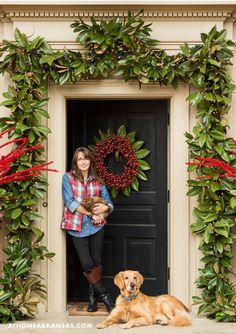 At Home in Arkansas - December 2015 - A Homemade Holiday - Susan Harper, El Dorado Front Door Christmas Decorations, Christmas Front Doors, Christmas Porch, Noel Christmas, Rustic Christmas, Winter Christmas, Christmas Wreaths, Christmas Crafts, Christmas Decor In Kitchen