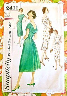 Simplicity 2411  Vintage 1950s Draped Back Dress by Fragolina