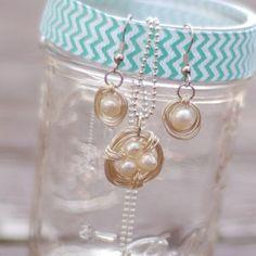 Pearl Bird's Nest DIY Jewelry Set | AllFreeJewelryMaking.com