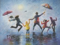 Singing in the Rain Print, art, happy family, playing, rain, rain paintings, umbrellas, leaping, family of five painting. $26.00, via Etsy.