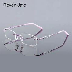 a3df5c98d4fe Reven Jate 613 Women Rimless Eyeglasses Frame Optical Glasses Frame  Prescription Rx able Female Woman Spectacles Eyewear-in Eyewear Frames from  Women s ...