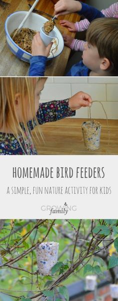 How to make homemade bird feeders - Growing Family - - Encourage wild birds to visit your garden with homemade bird feeders - easy to make, fun for kids, and loved by birds! Includes step-by-step instructions.