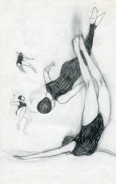 Magda Guidi, disegni neri [from the 'black drawings' series]  ////  swimming underwater  ////  http://magdaguidi.tumblr.com/