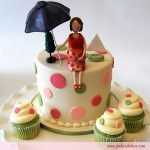 Day 4 of the Pregnant Mommy Cupcake Topper posting extravaganza brings us this topper with with a pregnant mommy-to-be holding an open umbrella which match
