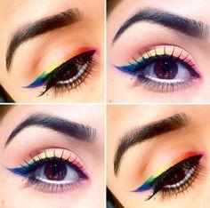 maquillage yeux original pour l'été - l'eye-liner arc-en-ciel