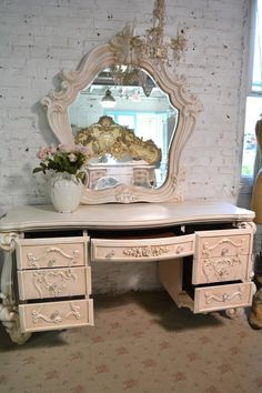 Painted Cottage Chic Shabby Romantic Vanity and Mirror Shabby Chic Vanity, Shabby Chic Pink, Shabby Chic Homes, Shabby Chic Decor, Shabby Chic Dressers, Painted Cottage, Shabby Cottage, Cottage Chic, Home Decor Bedroom