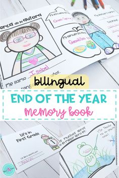 Celebrate the end of year with this memory book for students in Kindergarten,  first grade, and 2nd. Students write and draw to capture their favorite and most fun memories. Elementary teachers will love that this book comes in Spanish & English and includes an all about me (the author) page. Parents will love learning about their kids year through this activity. Printable worksheets (pages) are doubled to make prepping easy & fast.