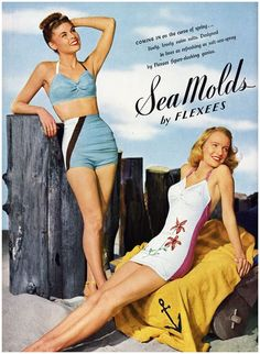 "Sea Molds by Flexees. Women's bathing suits ""as refreshing as salt-sea spray."""