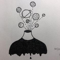 Trendy Ideas For Drawing Art Ideas Sketches Paintings Cute Easy Drawings, Cool Art Drawings, Pencil Art Drawings, Doodle Drawings, Art Drawings Sketches, Doodle Art, Drawing Art, Space Drawings, Tumblr Art