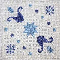 Tecido: 22ct brancas Hardanger  Tópicos: DMC perle n º 5 e n º 8 e algodão trançado (White, 797, 799)