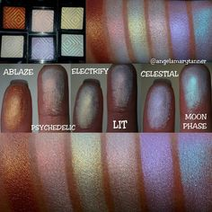 Duochrome Highlighter Swatched by angelamarytanner. Makeup Geek Duochrome Highlighters in Ablaze, Psychedelic, Electrify, Lit, Celestial, and Moon Phase.