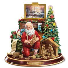 The Thomas Kinkade Woodcarving Santa - Hammacher Schlemmer