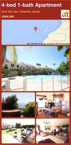 Apartment for Sale in Golf Del Sur, Tenerife, Spain with 4 bedrooms, 1 bathroom - A Spanish Life 4 Bedroom Apartments, Apartments For Sale, Tenerife, Guest Toilet, Golf, Sunny Afternoon, Corner Unit, Family Bathroom, Jacuzzi